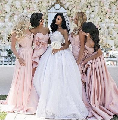 Elegant Long Pink Mermaid Sweetheart Lace-up Bridesmaid Dress_3