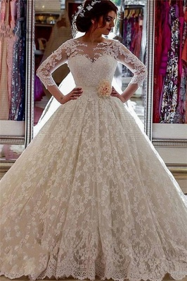 Long Sleeves Lace Sheer Vintage Church-Train Illusion Ball-Gown Arabic Wedding Dress_2
