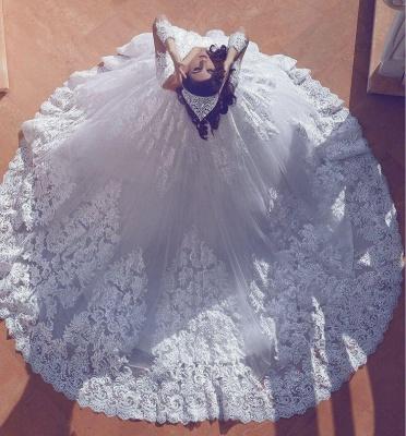 Court-Train Lace Ball-Gown V-neck Long-Sleeve Modest Wedding Dress_3