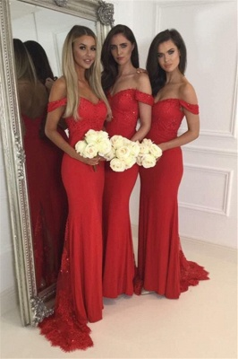 Red off-the-Shoulder Bridesmaid Dresses Zipper Back Long Lace Party Gowns_2