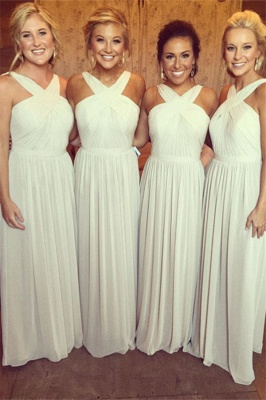 Elegant Sleeveless A-line Chiffon Cross Bridesmaid Dress_2