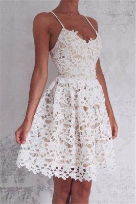 Mini Spaghetti Straps Lace-up Sleeveless Homecoming Dress_2