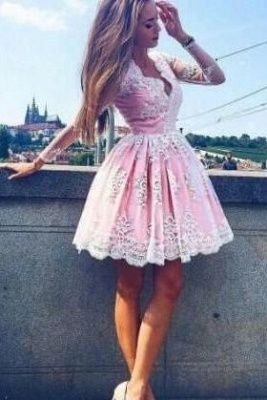 Pink Short Lace Homecoming Dresses Deep-V-Neck Long-Sleeves Party Dress_3