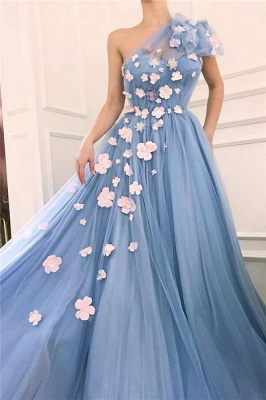 One Shoulder A-line Tulle Blue Prom Dresses with Handmade Flowers_2