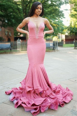 Pink Straps V Neck Fitted Beaded ruffles Mermaid Prom Dresses   Fit and Flare cheap Evening Dresses_1