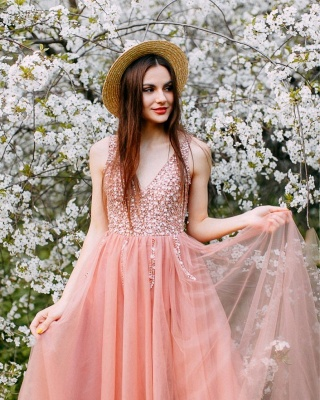 Lovely Straps V-neck Beaded Side Slit Tulle Prom Dresses | Glitter Long Party Dresses_2