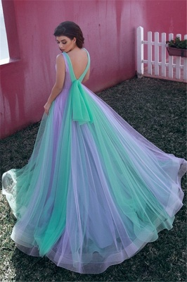 Colorful Sleeveless V-neck A-line Tulle Prom Dresses | Long Party Dresses_2