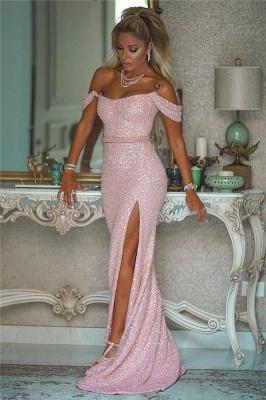 Off the Shoulder Belted Pink Sequin Prom Dresses with Side Slit_1
