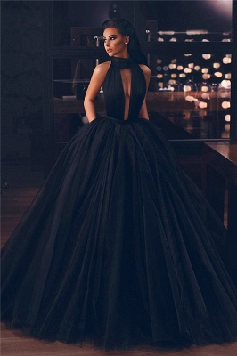 Chic High Neck Keyhole Puffy Floor Length Black Prom Dresses   Stylish Long Evening Dresses_1