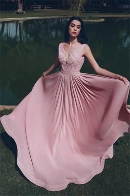 Elegant Sleeveless V-neck Appliques A-line Prom Dresses | Long Evening Dresses for Fashion UK Girls_1