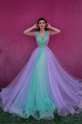 Colorful Sleeveless V-neck A-line Tulle Prom Dresses | Long Party Dresses_1