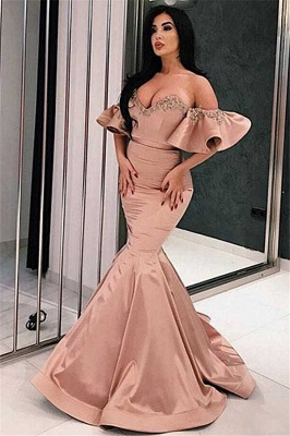 Off The Shhoulder Sweetheart Applique Mermaid Prom Dresses | Floor length Ruffles evening dresses_1