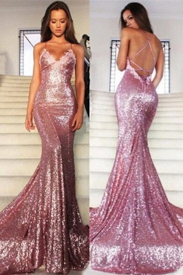 Mermaid Long Rose Pink Prom Party Dresses Sequins Spaghetti Strap Evening Gowns_2