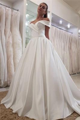 Elegant Swetheart Off The Shoulder Ruffles Sash A Line Wedding Dresss_1