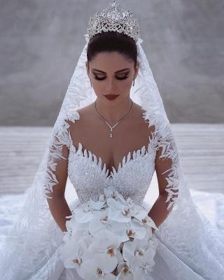 Gorgeous V Neck Long Sleeve Ball Gown Beading Applique Wedding Dresses_2