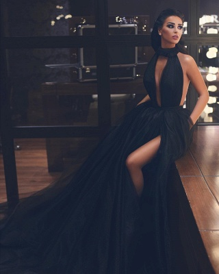 Chic High Neck Keyhole Puffy Floor Length Black Prom Dresses   Stylish Long Evening Dresses_2