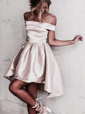 Newest A-line Mini Off-the-shoulder Homecoming Dress_5
