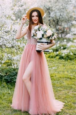 Lovely Straps V-neck Beaded Side Slit Tulle Prom Dresses   Glitter Long Party Dresses_1