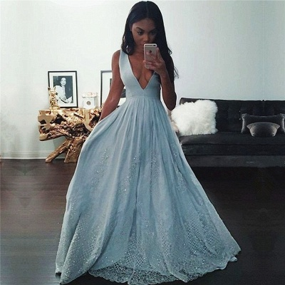 Pretty Baby-Blue V-neck Prom Dress 2018 Sleeveless Lace Evening Gowns with Beading_3