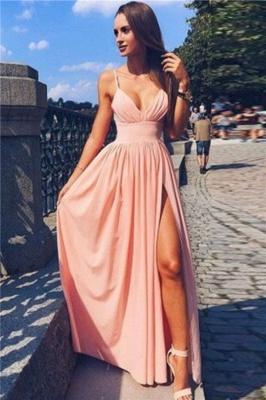 Deep-V-Neck Sexy A-line Side-Slit Spaghetti-Straps Prom Dresses_2