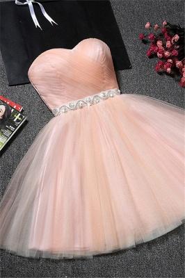 Sweetheart A-Line Ruffles Simple Short Crystal Short Homecoming Dresses_2