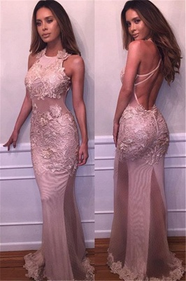 Delicate Mermaid Lace-Appliques Prom Dress 2018 Halter Sleeveless Evening Gowns BA4359_2