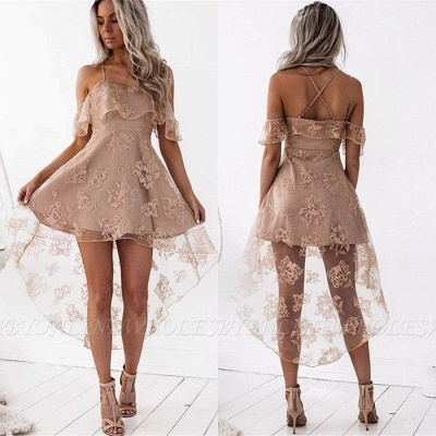 Cute A-line Hight-low Short Lace Homecoming Dress_4
