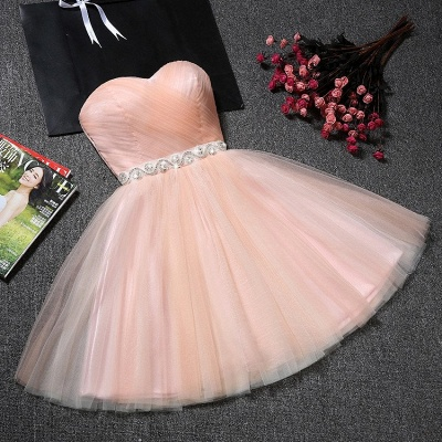Sweetheart A-Line Ruffles Simple Short Crystal Short Homecoming Dresses_5