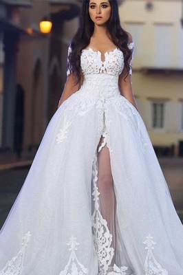 Long Sleeves A-Line Appliques White Elegant Wedding Dresses with Overskirt_2