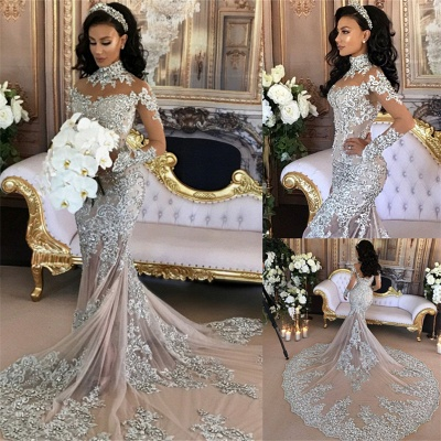 Luxury Silver Mermaid Wedding Dresses | Long Sleeves Lace High Neck Bridal Gowns_3