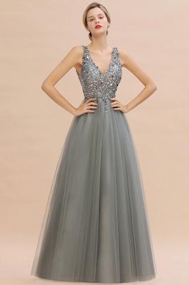Straps V-neck Sheer Floor Length A-line Tulle Prom Dresses_11