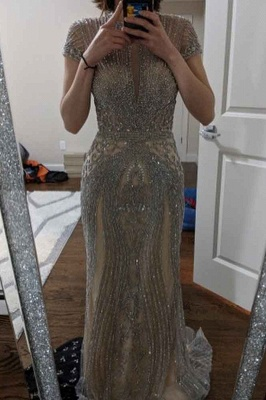 Luxury Beaded Jewel Cap Sleeves Fit and Flare Prom Dresses_15