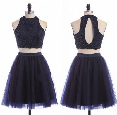 Zipper Mini Sexy Sleeveless Jewel Two-Piece Homecoming Dress_3