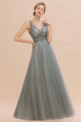 Straps V-neck Sheer Floor Length A-line Tulle Prom Dresses_12