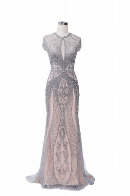 Luxury Beaded Jewel Cap Sleeves Fit and Flare Prom Dresses_29