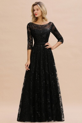 Round Neckline Half Sleeves A-line Floor Length Black Prom Dresses_2