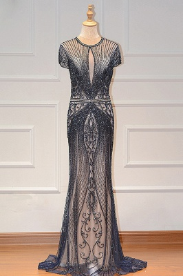 Luxury Beaded Jewel Cap Sleeves Fit and Flare Prom Dresses_3