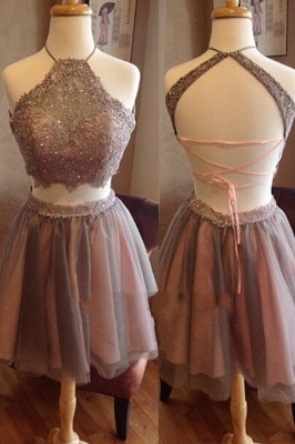 Two Piece Spaghettis Straps Lace Halter Neck Homecoming Dresses_2