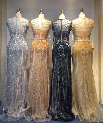 Luxury Beaded Jewel Cap Sleeves Fit and Flare Prom Dresses_38