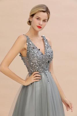Straps V-neck Sheer Floor Length A-line Tulle Prom Dresses_17