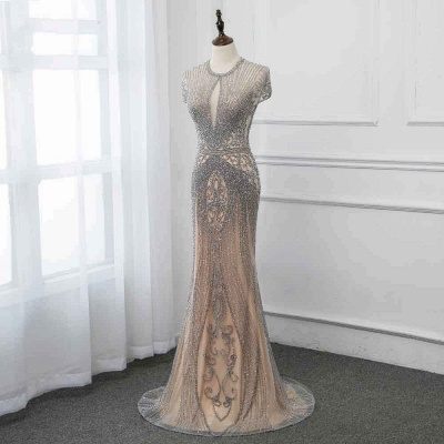 Luxury Beaded Jewel Cap Sleeves Fit and Flare Prom Dresses_40