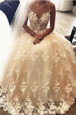 3D-Floral Sweep Train Exquisite Appliques A-Line Lace Sweetheart Wedding Dresses_2
