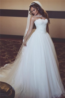 Gorgeous Sleeveless Tulle Bridal Gowns Long Lace Sweetheart Wedding Dresses_3