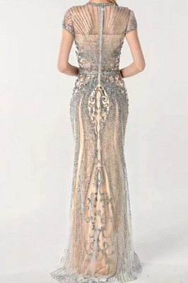 Luxury Beaded Jewel Cap Sleeves Fit and Flare Prom Dresses_6