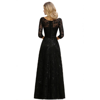 Round Neckline Half Sleeves A-line Floor Length Black Prom Dresses_13
