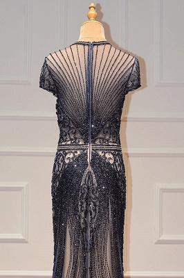 Luxury Beaded Jewel Cap Sleeves Fit and Flare Prom Dresses_27