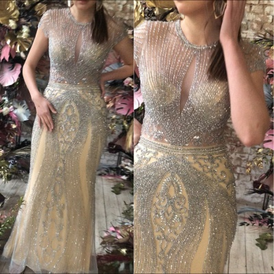 Luxury Beaded Jewel Cap Sleeves Fit and Flare Prom Dresses_14