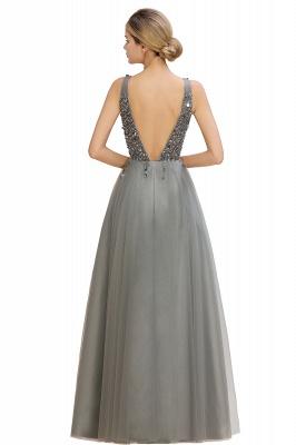Straps V-neck Sheer Floor Length A-line Tulle Prom Dresses_16