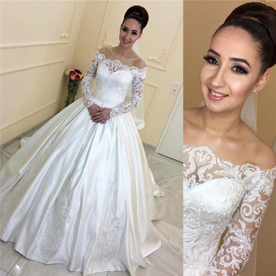 A-line Lace Long-Sleeves Sweep Train Off-the-Shoulder Wedding Dresses_3