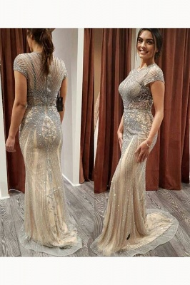 Luxury Beaded Jewel Cap Sleeves Fit and Flare Prom Dresses_16
